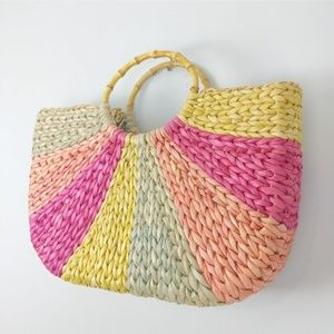 Colorful Vintage Straw Bamboo Handle Tote Bag